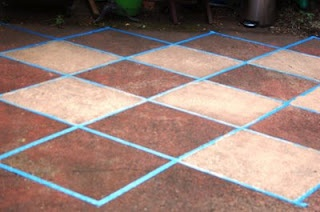 Painting the concrete steps in the front. My Painted Concrete Patio is Complete! | The Urban Un-MARTHA
