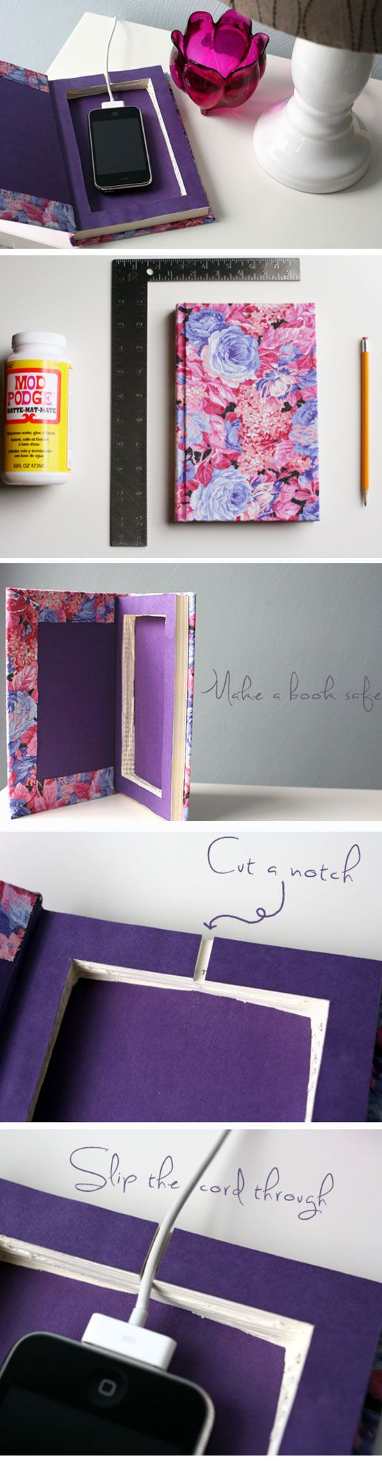 DIY - 'Book It' Cell Phone Charging Station