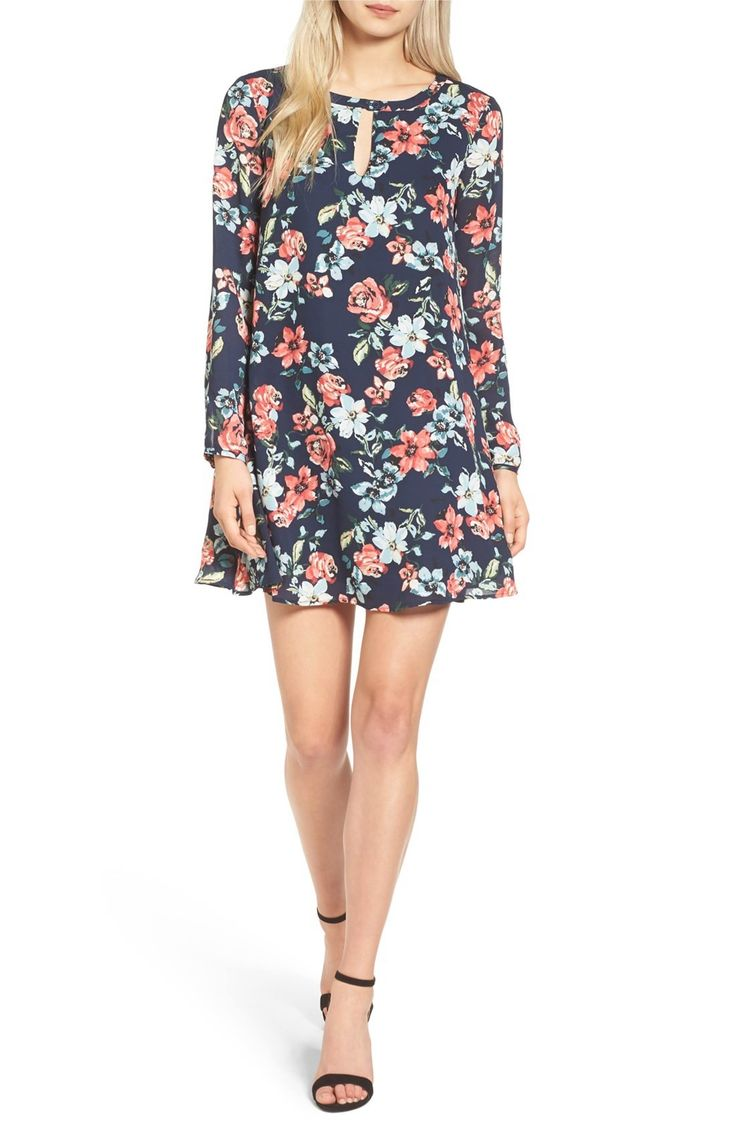 Main Image - cupcakes and cashmere Del Rey Floral Print Shift Dress