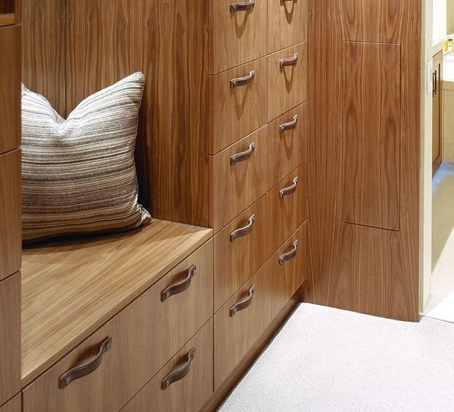 Walk-in Closet with Strap Leather Cabinet Pull Handles in Chestnut