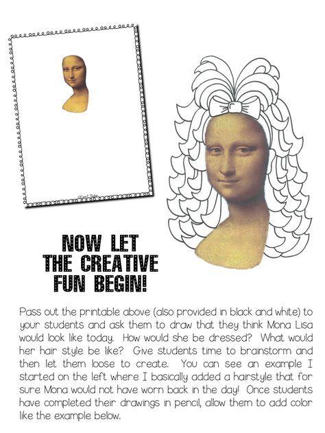 Masterpiece Monday:If Mona Lisa Were Alive Today. Sub plan