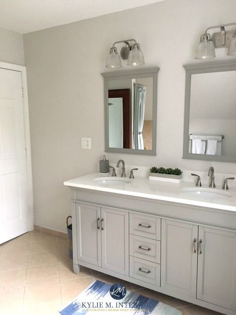 Benjamin Moore Balboa Mist In Bathroom With Beige Tile And Gray White Vanity Kylie M Interiors E Design Online Colour Consulting Services