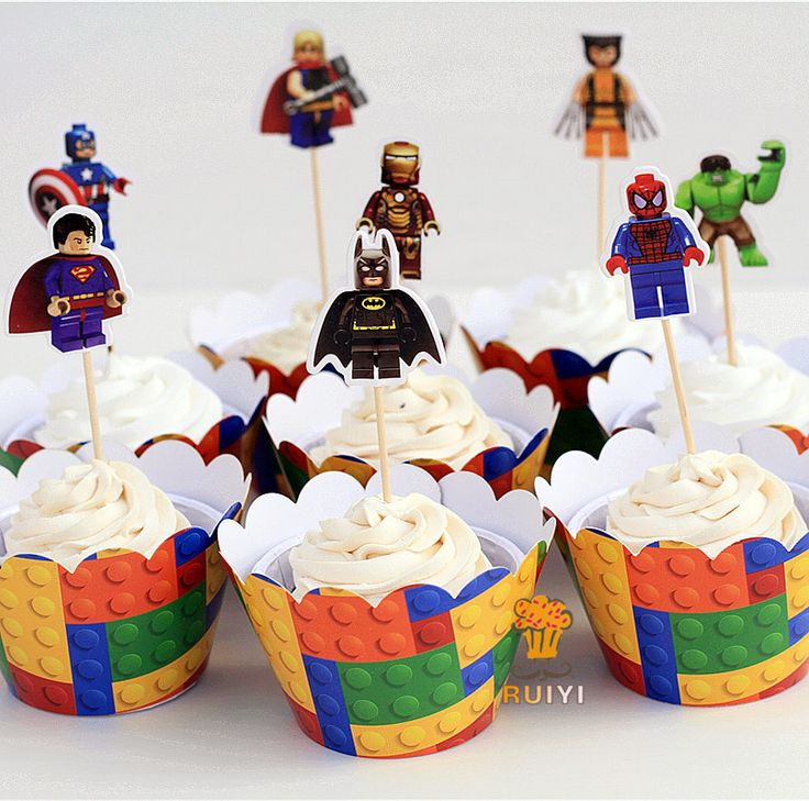 Lego Batman superman captain America cupcake wrappers kids birthday party supplies cupcake cases cupcake topper- 48pcs