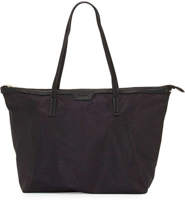 Neiman Marcus Miley Nylon Zip-Top Tote Bag, Black - $65.00