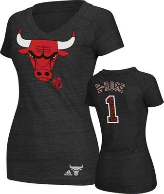 "Derrick Rose Chicago Bulls adidas Women's ""Rose Print"" Tri-Blend V-Neck T-Shirt $34.99"
