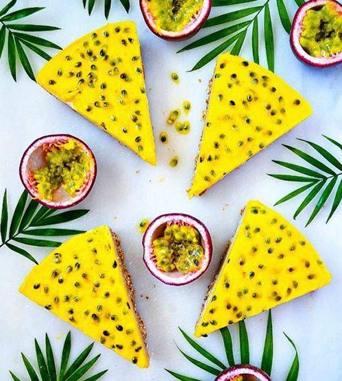 Let's Cook Vegan, le compte Instagram healthy food et ses recettes détaillées Cheesecake mangue et fruits de la passion