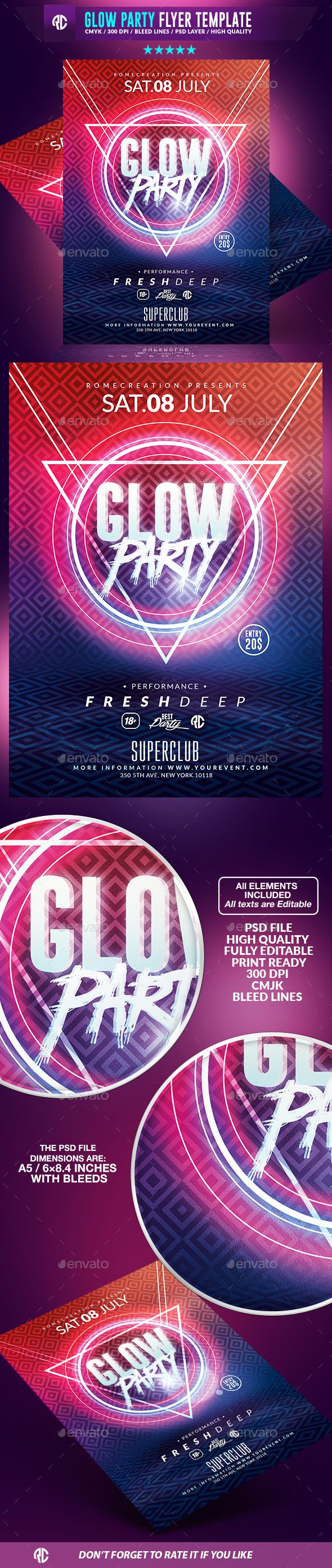 Glow Party | Psd Flyer Template available on #envatomarket  #templates #romecreation #minimal #deep #flyer #flyers #poster #fresh #party #geometry #event #glow #glowinthedark #sounds #psd #market #graphicriver