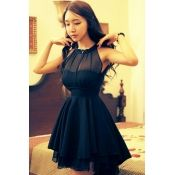 $20.49 Fashion Sweet O Neck Off The Shoulder Sleeveless Black Waist Skirt Mini Dress