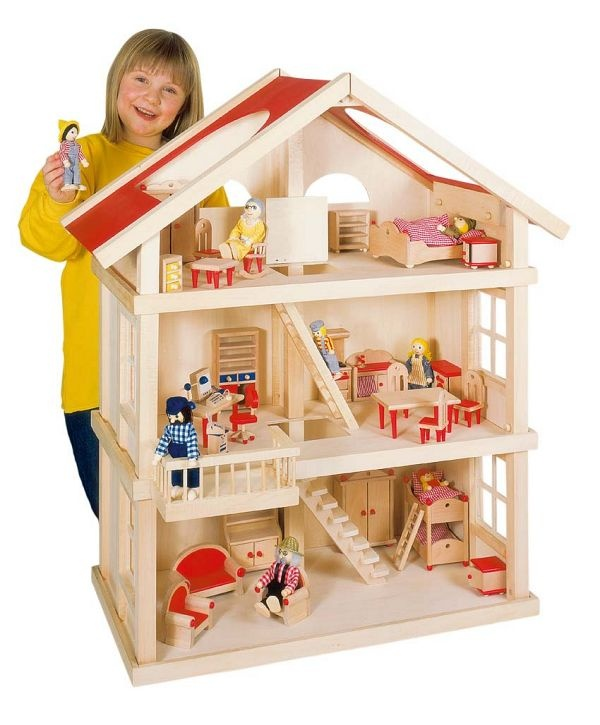 large wooden dolls house only from toyday toyshop a simple three storey wooden dolls house with easy access - Wooden Dollhouses Designs