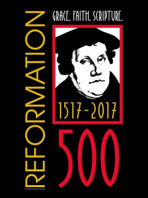 """Reformation 500 Poster - Celebrate 500 years since the Ninety-five Theses was nailed to the door of the Wittenberg church. This large poster features an iconic image of Martin Luther on a black background with the words """"Grace. Faith. Scripture."""" Make a statement in your home or add it to any display of Reformation-related books, gifts, and collectibles for even more awareness of this auspicious year. 16 x 20 inches."""
