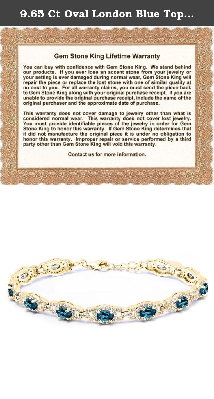 9.65 Ct Oval London Blue Topaz 18K Yellow Gold Plated Silver 7 Inch Bracelet With 1 Inch Extender. Beautiful and brilliant pair our Topaz bracelet with career or weekend outfits. Featuring a radiant flawless 925 Yellow Gold Plated Silver finish. This item is perfect for any event and holiday. The secure fit promises carefree wear and stability, while the appearance ensures that this bracelet will be the center of attention on any ensemble. As always with all of our products this item…
