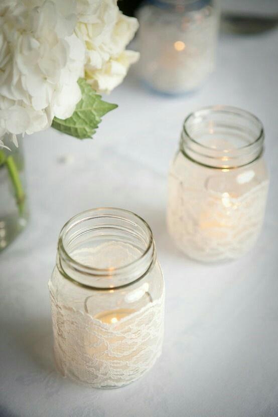 Mason jars & lace. Great for decorations (holidays, wedding, shower, etc.)