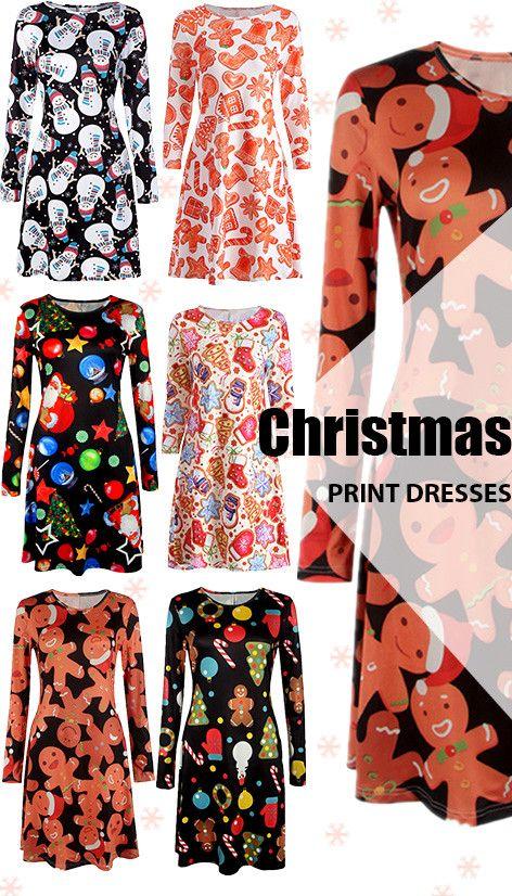 CHRISTMAS PRINT DRESSES