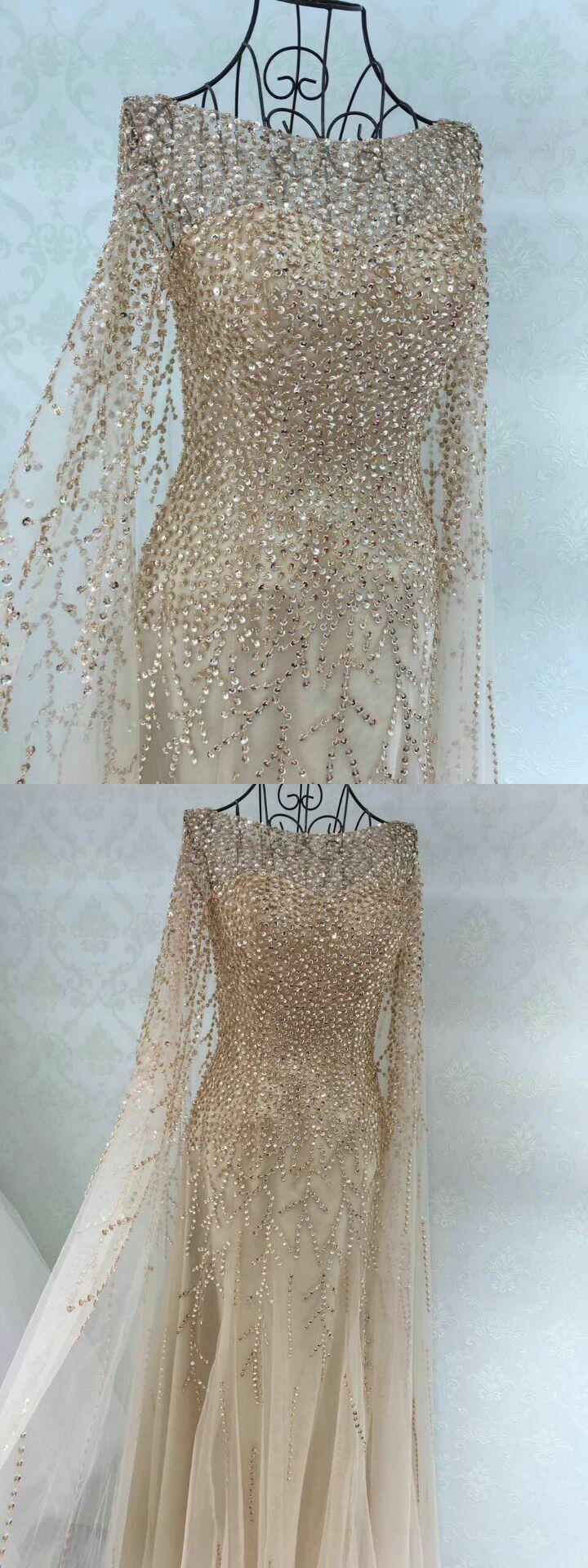 fairy dress, champagne long prom dress, long sleeves prom dress, 2017 prom dress, evening dress, party dress