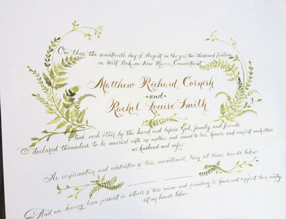 Handpainted Small Quaker Wedding Certificate by eDanae on Etsy