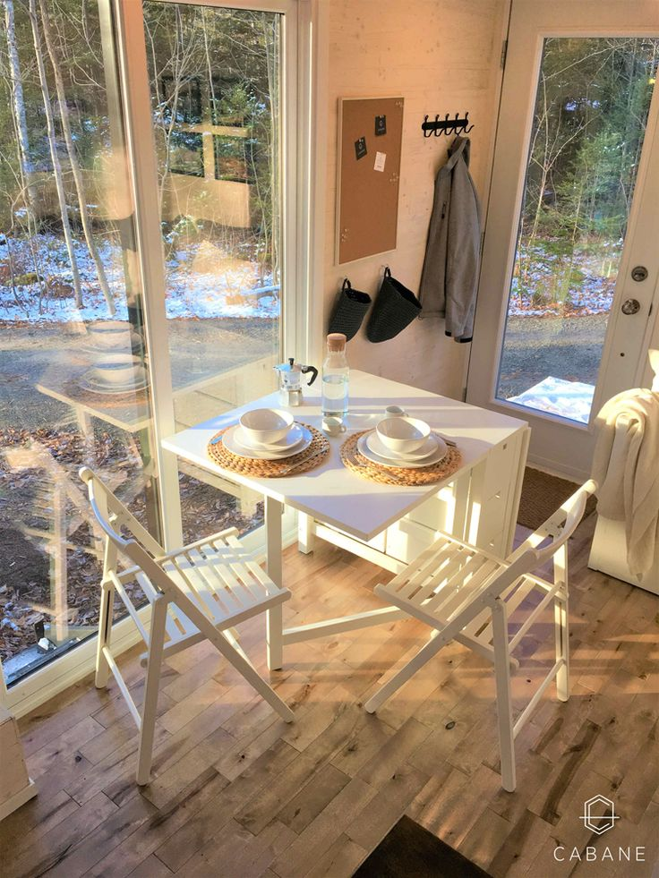 There is abundant natural light in the cabin thanks to the sliding glass door, full light entry door, and several windows.