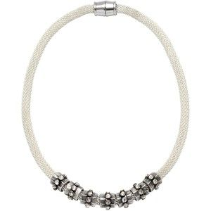 Adele Marie Mesh Rope Bead Necklace, Silver