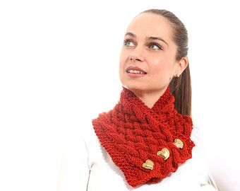 Knitted Scarf, Classica Hand Knit Scarf by Solandia, burnt orange, birthday knitted gift, fashion accessories