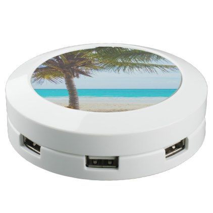 #white - #Tropical Beach Turquoise Water White Sand USB Charging Station