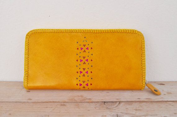 Genuine Goat Leather Zipper Wallet / Purse by SaharartDouz on Etsy