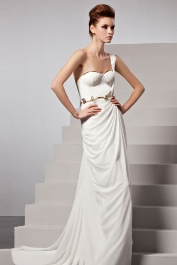 REGISTER ON PERSUNMALL.COM Sweep train White Chic Column One shoulder ...