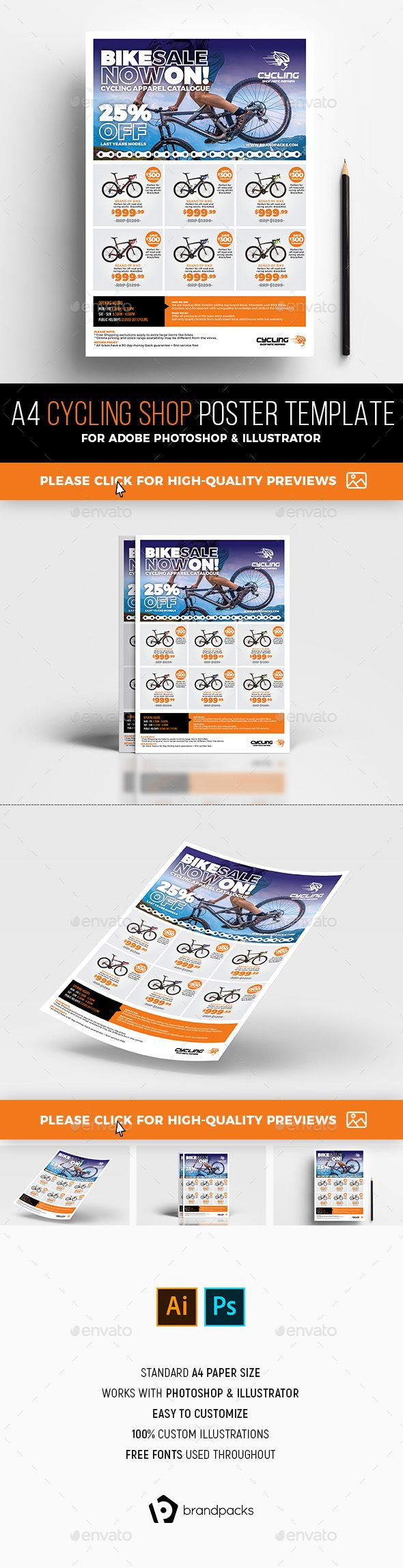 Cycling Shop Advertisement Template PSD, AI