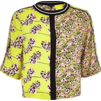Lime green floral boxy fit t-shirt