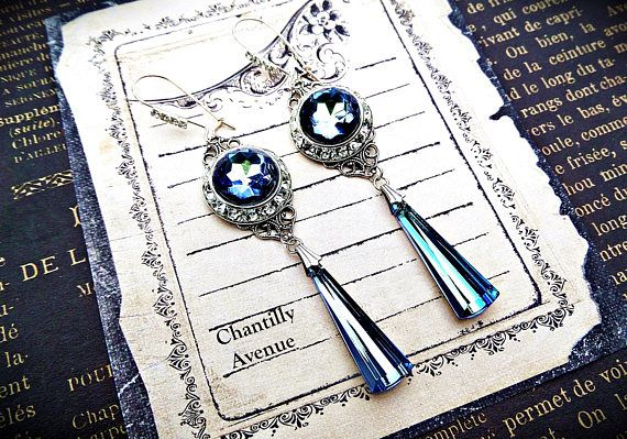 Ozean Blau Art Deco Ohrringe blaue Perle Ohrringe Strass