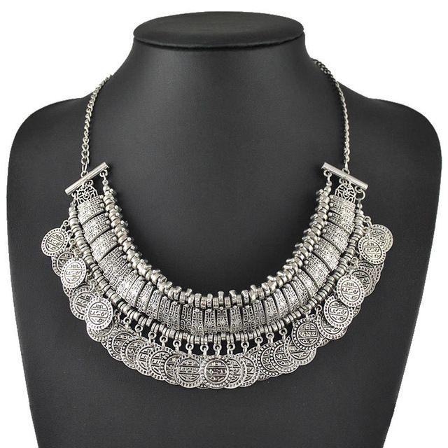 Новый оптовая продажа женская шарм колье ожерелье мода старинное серебро золотые монеты ожерелья шкентеля