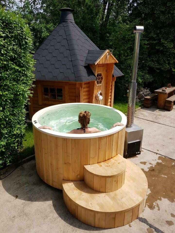 Badebecken Mit Holzofen Badebottich Tauchbecken Sauna