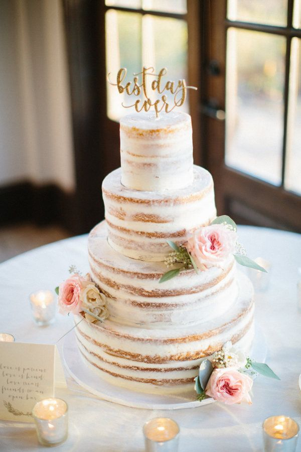 Naked wedding cake: http://www.stylemepretty.com/georgia-weddings/douglasville/2017/02/27/georgia-simple-eleganance-wedding/ Photography: Hillary Leah - https://www.hillaryleahphotography.com/