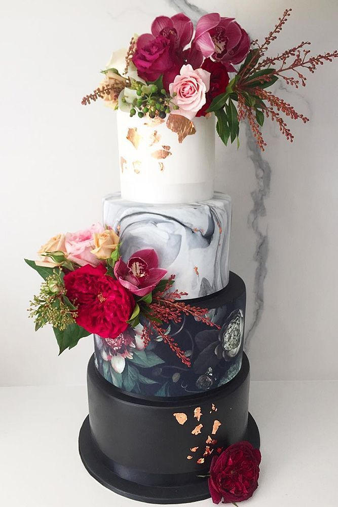 30 Black And White Wedding Cakes Ideas ❤️ black and white wedding cakes tall with marble patterns gold elements and red flowers kate gnanapragasam via instagram ❤️ See more: http://www.weddingforward.com/black-and-white-wedding-cakes/ #wedding #bride #weddingcakes #blackandwhiteweddingcakes