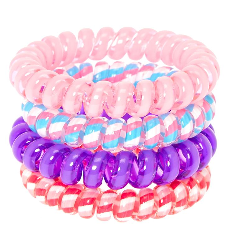 Pink And Purple Striped Coiled Hair Ties