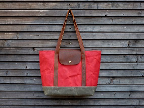 Waxed canvas tote bag / carry all with  leather handles and double waxed canvas bottom