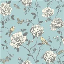 Rasch Butterfly and Bird Wallpaper 204339 Teal