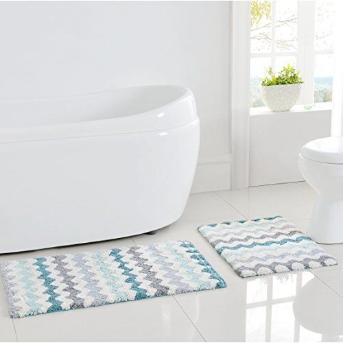 Corso Chevron Zig Zag Bath Rug Mat (Aqua Gray White 2pc) .