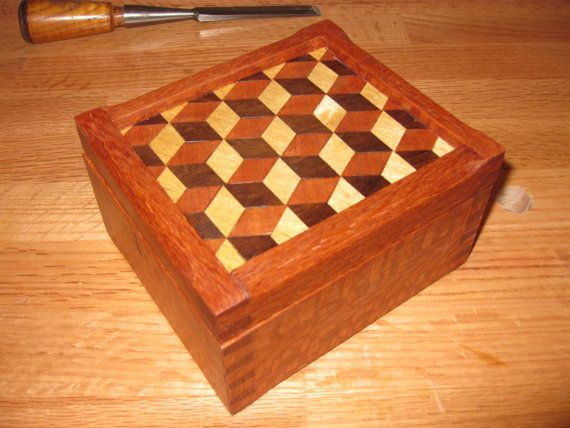 Exotic Wood Box With Louis Cube Parquetry Wood Boxes