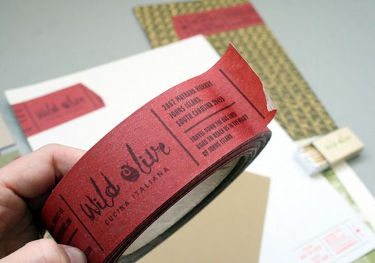 business card tape / genius for packaging and shipping-- I am so using this idea for my blog @emilyjollenbeck