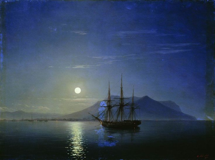 Sailing off the coast of the Crimea in the moonlit night - Ivan Aivazovsky, 1858 Parusnik u Byeryegov Kryma v Lunnyuyu Noch'