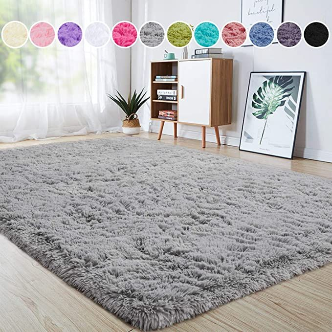 Amazon Com Junovo Ultra Soft Area Rugs 5 3 X 7 5ft Fluffy Carpets For Bedroom Kids Girls Boys Baby Living Room Shaggy F Bedroom Carpet Girls Rugs Nursery Rugs
