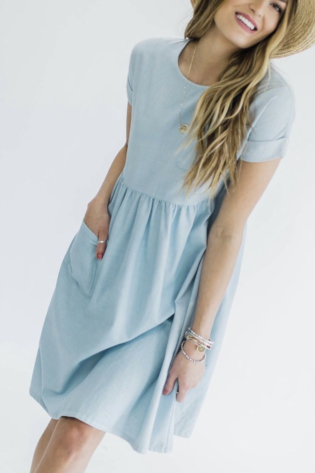 Light denim summer pocket dress | ROOLEE Fashion