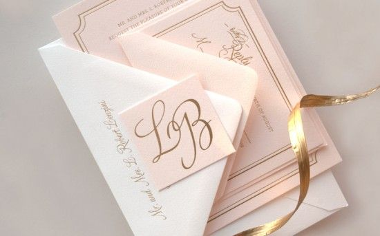 Pink and Gold Foil Wedding Invitations