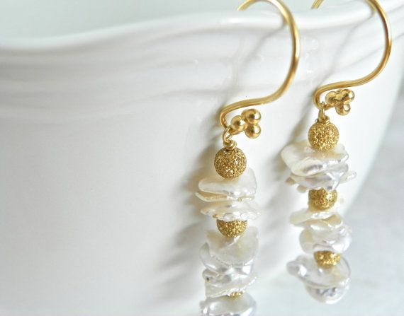 SOLD. Pearl Earrings with 24k Gold Vermeil at The North Way Studio.