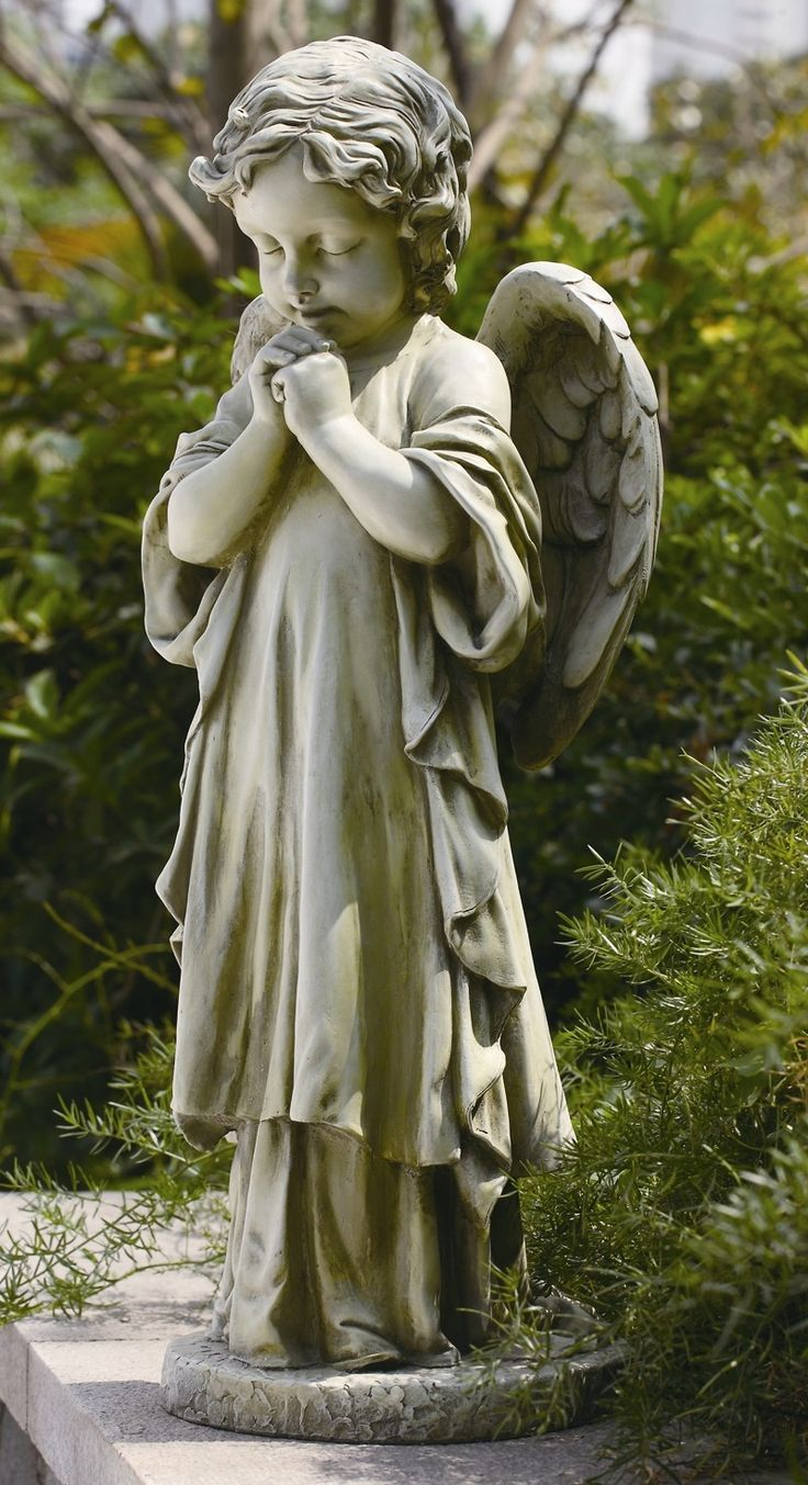 Features:  -Resin and stone mix construction.  -Praying Angel collection.  Product Type: -Statue.  Color: -Gray.  Distressed: -Yes.  Style: -Traditional.  Material: -Resin/Plastic/Stone.  Theme: -Reli