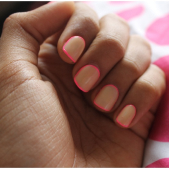 nude nails with hot pink outline...Different