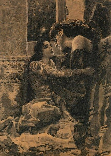 """Тамара и Демон."", 1890 г. Михаил Врубель. ""Tamara y demonio"", 1890. Mikhail Vrubel."