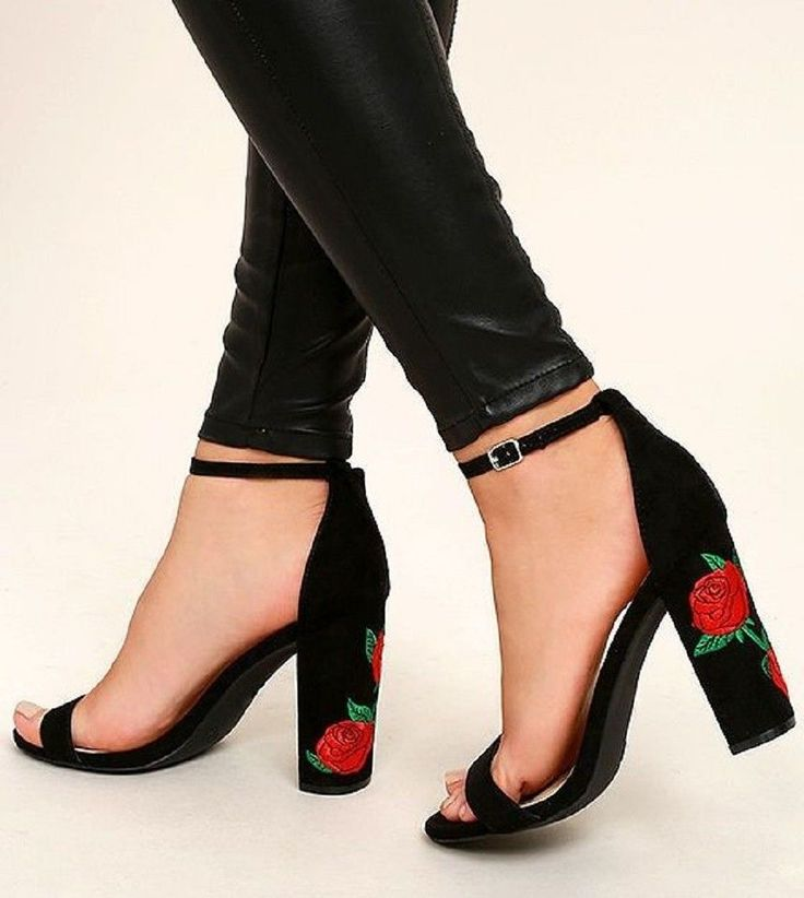 Morris01B SUEDE EMBROIDERED ANKLE STRAP BLOCK HEELS SHOES
