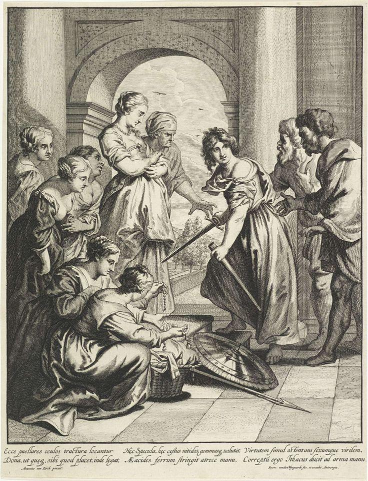 Frans van den Wijngaerde   Achilles en de dochters van Lycomedes, Frans van den Wijngaerde, 1636 - 1679   De dochters van Lycomedes zitten gebogen over een mand met juwelen terwijl Achilles, vermomd als vrouw, zijn zwaard trekt. Achilles wordt door twee mannen gegrepen, aan zijn voeten zijn schild en een speer. In de marge een zesregelig onderschrift, in twee kolommen, in het Latijn.