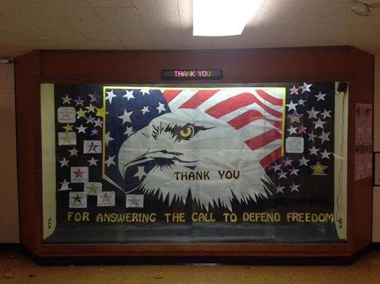 Veterans Day Eagle and Flag Bulletin Board Idea