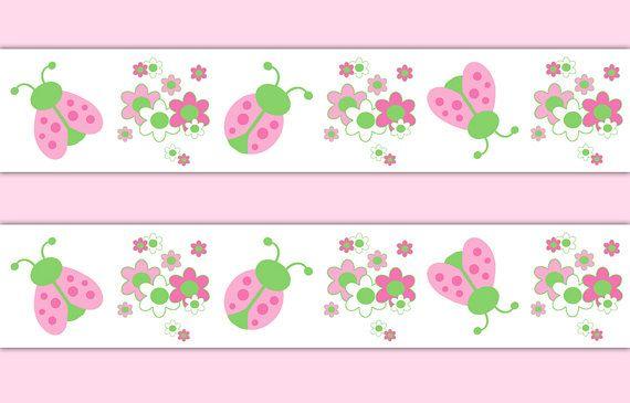 LADYBUG NURSERY BORDER Decal Wall Art Pink Green Girl Stickers Room Decor Kids Childrens Floral Bedroom Baby Shower Decorations Design #decampstudios